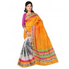 Deals, Discounts & Offers on Women - The Lugai Fashion Orange Art Silk Saree