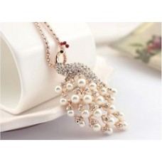 Deals, Discounts & Offers on Women - RF Statement Peacock pearl rhinestone necklace Pendant Gold Plated Chain