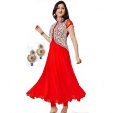 Deals, Discounts & Offers on Women - Aagaman Adorable Red Colored Embroidered Faux Georgette Salwar Kameez