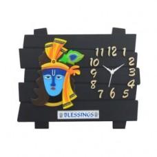 Deals, Discounts & Offers on Home Decor & Festive Needs - Evergreen Black Shree Krishna Plastic Wall Clock
