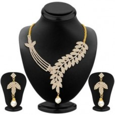 Deals, Discounts & Offers on Earings and Necklace - Gold Plated Australian Diamond Necklace Set by Sikka Jewels