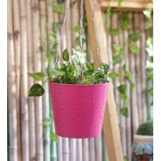 Deals, Discounts & Offers on Home Decor & Festive Needs - Green Girgit Pink Hanging Bucket