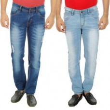Deals, Discounts & Offers on Men - Stylox Pack Of 2 Round Pocket Damage Slim fit Jeans