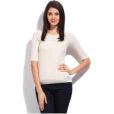 Deals, Discounts & Offers on Women - Wrangler Solid Women's Round Neck White T-shirt