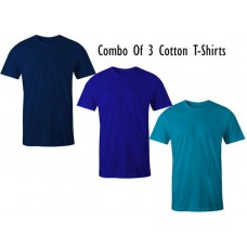 Deals, Discounts & Offers on Men Clothing - Combo of 3 T-shirts Navy Blue,Royal Blue,Sky Blue