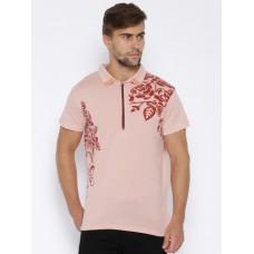 Deals, Discounts & Offers on Men Clothing - Le Bison Pink Floral Print T-shirt