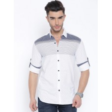Deals, Discounts & Offers on Men Clothing - Locomotive White & Navy Blue Printed Casual Shirt
