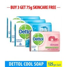 Deals, Discounts & Offers on Personal Care Appliances - Flat 11% off on Dettol Cool Soap - 125 gm (Pack of 3) + Dettol Skincare 75 gm Free