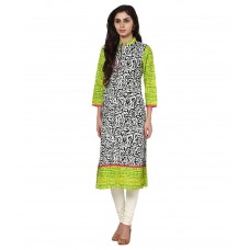 Deals, Discounts & Offers on Women Clothing - Prakhya Green Cotton Straight Kurti
