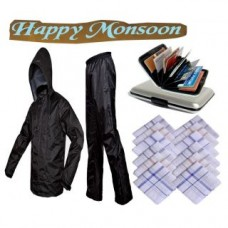 Deals, Discounts & Offers on Accessories - Happy Monsoon combo kit Branded Rain coat,6 Pc cotton handkerchiefs and Water proof alluma Wallets