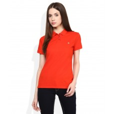Deals, Discounts & Offers on Women Clothing - United Colors of Benetton Orange Solid T-Shirt