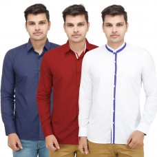 Deals, Discounts & Offers on Men Clothing - Flat 61% off on VMENZ Set Of 3 Designer Casual Shirts