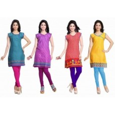 Deals, Discounts & Offers on Women Clothing - Trendbend Combo Of 4 Cotton Kurtis