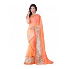Deals, Discounts & Offers on Women Clothing - Orange Georgette Embroidered Saree with Blouse Piece