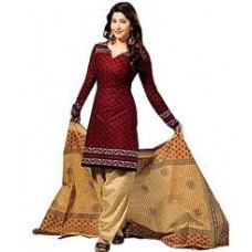Deals, Discounts & Offers on Women Clothing - Janasya Maroon Printed Women Unstitched Suit DR03