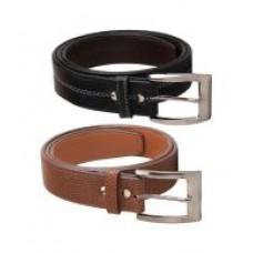 Deals, Discounts & Offers on Men - Elligator Brown and Black Belt - Set of 2