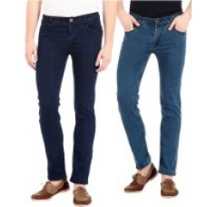 Deals, Discounts & Offers on Men Clothing - Flyjohn Blue Slim Fit Jeans - Combo of 2