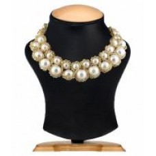 Deals, Discounts & Offers on Earings and Necklace - SHILPIHANDICRAFTS Golden and White Pearl Designer Necklace