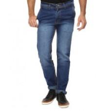 Deals, Discounts & Offers on Men Clothing - Wajbee Blue Slim Fit Faded Jeans