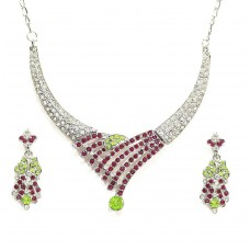 Deals, Discounts & Offers on Earings and Necklace - Zaveri Pearls Non-Precious Metal Pink Choker Necklace