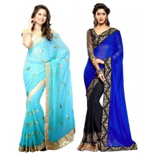 Deals, Discounts & Offers on Women Clothing - Bhuwal Georgette Saree Combos