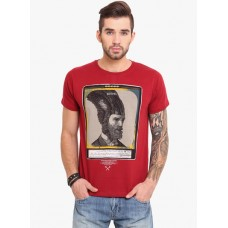 Deals, Discounts & Offers on Men Clothing - Maroon Printed Round Neck T-Shirt