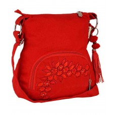 Deals, Discounts & Offers on Women - Pick Pocket Red Canvas Sling Bag