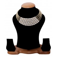 Deals, Discounts & Offers on Earings and Necklace - Shilpi Handicrafts White Designer Statement Necklace