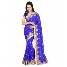 Deals, Discounts & Offers on Women Clothing - Pahal Fashion Blue Georgette Saree