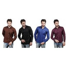 Deals, Discounts & Offers on Men Clothing -  Flat 48% Off Combo of 4 Cotton Men Formal Shirts@1299