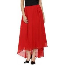 Deals, Discounts & Offers on Women Clothing - Tops And Tunics Solid Women's Asymetric Red Skirt