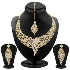 Deals, Discounts & Offers on Earings and Necklace - Sukkhi Sleek Gold plated AD Stone Necklace Set