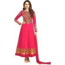 Deals, Discounts & Offers on Women Clothing - Reya Georgette Embroidered Semi-stitched Salwar Suit Dupatta Material