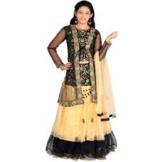 Deals, Discounts & Offers on Kid's Clothing - Saarah Self Design Girl's Lehenga, Choli and Dupatta Set