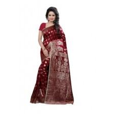 Deals, Discounts & Offers on Women Clothing - See More Self Design Maroon Color Kanjivaram Art Silk Saree