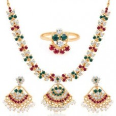 Deals, Discounts & Offers on Earings and Necklace - Gold Plated Ad Necklace-earring-ring Set