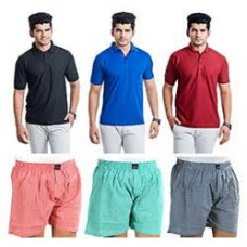 Deals, Discounts & Offers on Men Clothing - Flat 84% Off on Set Of 3 Men Cotton Boxer And 3 Polo T-Shirt @799