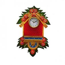 Deals, Discounts & Offers on Home Appliances - craftindia Papier Mache Wall Clock Hut Design