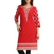 Deals, Discounts & Offers on Women Clothing - red cambric regular kurta