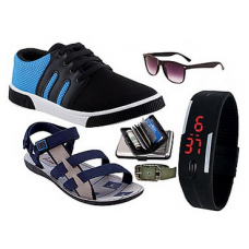 Deals, Discounts & Offers on Men - Combo Men Casual Shoes With Sandals & Accessories @ Rs.879/-