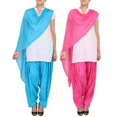 Deals, Discounts & Offers on Women Clothing - womens Cottage Combo Pack of 2 Cotton Jacquard Patiala and Chiffon Dupatta Set