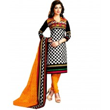 Deals, Discounts & Offers on Women Clothing - Drapes White & Black Printed Unstitched Cotton Dress material
