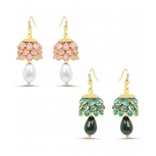 Deals, Discounts & Offers on Earings and Necklace - Johareez Brass Gold Plating Stones Studded Green Coloured Earrings