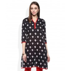 Deals, Discounts & Offers on Women Clothing - Rangmanch By Pantaloons Black Printed Kurti