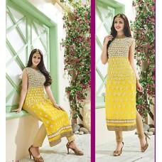 Deals, Discounts & Offers on Women Clothing - Shanaya Classy Net Lemon Yellow Straight Kurti