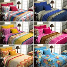 Deals, Discounts & Offers on Home Decor & Festive Needs - Superspun Vodre Pack Of 6 Printed Double Bedsheet Set