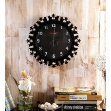 Deals, Discounts & Offers on Home Decor & Festive Needs - Random Black Wooden 12 Inch Round Crowny Wall Clock