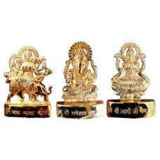 Deals, Discounts & Offers on Home Decor & Festive Needs - Gold Plated Ganesh Laxmi Durga Idol