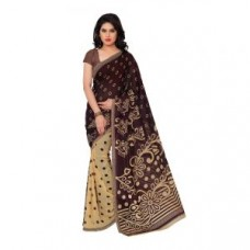 Deals, Discounts & Offers on Women Clothing - Ambaji Casual Wear Dark Brown Colored Printed Dani Saree