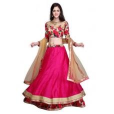 Deals, Discounts & Offers on Women Clothing - Janasya Women's Pink Raw Silk Lehenga